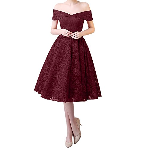 Damen Knielang Charmant Abendkleider v Rosa Ausschnitt Dunkel Kurz Ballkleider Spitze Burgundy a Partykleider Linie Rock dnIqIr