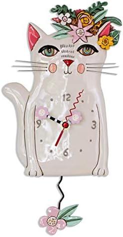Allen Designs P1993 Swinging Pendulum Clock Pretty Kitty Cat Design 7.25 inches X 14.25 inche