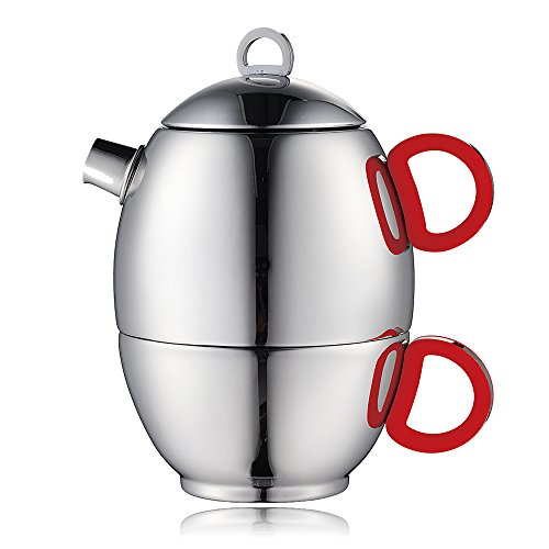 Minos Stunning Stainless Steel Teapot And Cup For One Set With Silicon Handle - 8.5 OZ Liquid Capacity - Hand-polished, Scratch, Wear and Tear Resistant Best for Serving Tea and Coffee by Minos (Image #6)