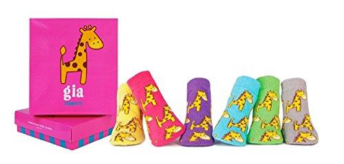 (Trumpette Baby-Girls 6-pairs Newborn Gia Giraffe socks, Multi, 0-12 Months)