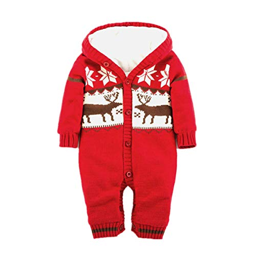 - Baby Hooded Romper Thick Fleece Warm Cardigan Knitted Sweater Infant Outwear (12M(Advice 0-6 Months), Red)