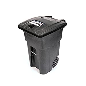 5. Toter 025B64-R1BKS Bear Proof Residential Heavy Duty 2-Wheeled Trash Can with Attached Bear Tight Lid, 64-Gallon, Blackstone