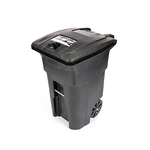 Toter 025B64-R1BKS Bear Proof Residential Heavy Duty 2-Wheeled Trash Can with Attached Bear Tight Lid, 64-Gallon, Blackstone