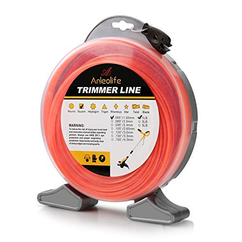 Anleolife 1-Pound Commercial Square .065-Inch-by-960-ft String Trimmer Line Donut,with Bonus Line Cutter, Orange (Best 065 Trimmer Line)