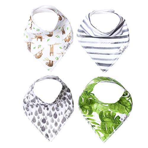 "Baby Bandana Drool Bibs 4 Pack Gift Set for Boys or Girls ""Noah Set"" by Copper Pearl"