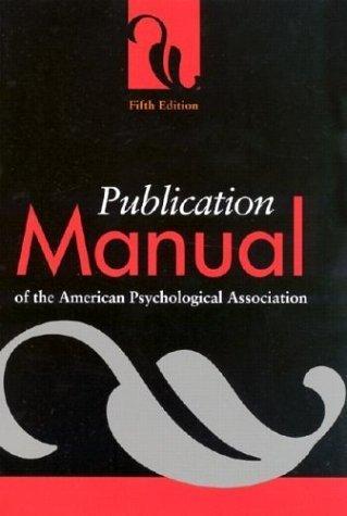 最好的价钱 Publication Manual the American Psychological Association (2001- - )