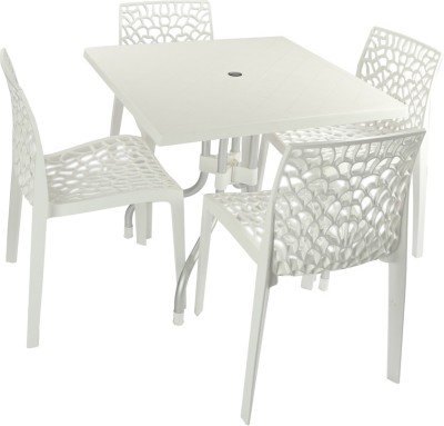 Mavi White Outdoor 4 Chair & Table Set (MEC-101)