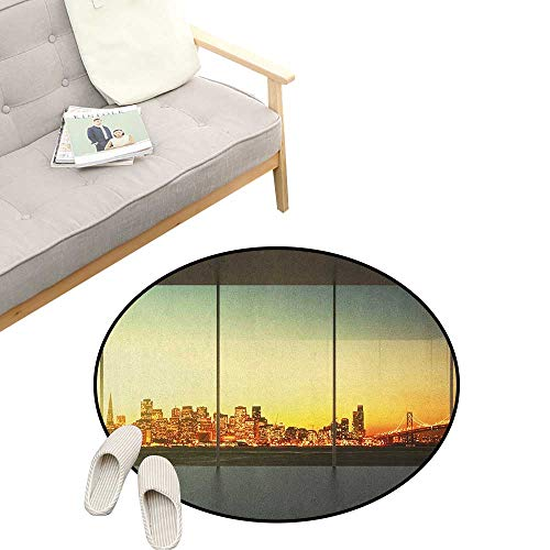 """Modern Round Rug Living Room ,Empty Office at Sunset with View to Skyline Architecture Downtown City Art, Bedrooms Laundry Room Decor 31"""" inch Orange Grey Green"""