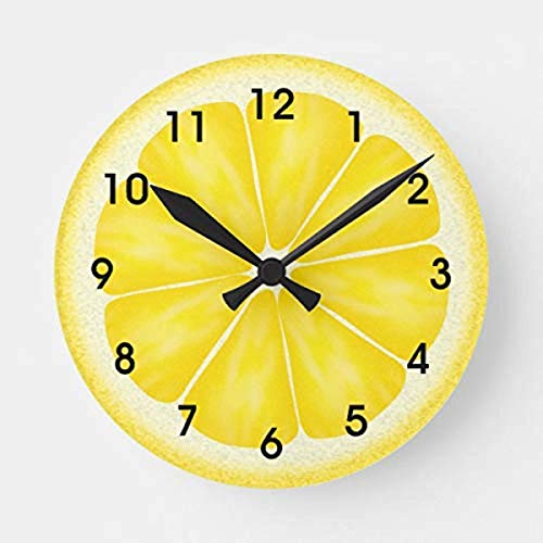 "LOVE NILE Wall Clock 12"" Round Wood Clock, Vintage Yellow Lemon Citrus Fruit Slice Wooden Decorative Silent Non Ticking Round Wall Clock Hanging Clock"