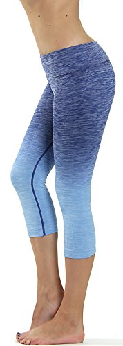 Prolific Health Fitness Power Flex Yoga Pants Leggings – All Colors – XS – XL (Large, Capri Ombre DENIM BLUE)
