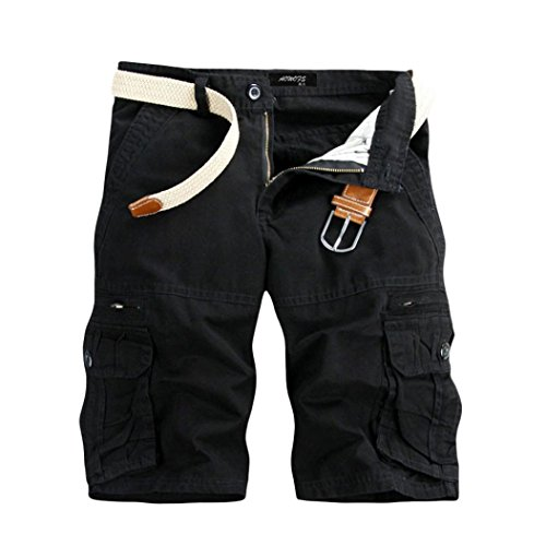 Cargo Short, Shybuy Men's Relaxed Fit Twill Cargo Short Active Outdoor Wear Short Pant (Black, 29)