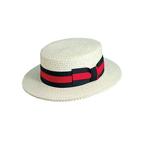 (Scala Men's Straw Boater, Bleach, Small)