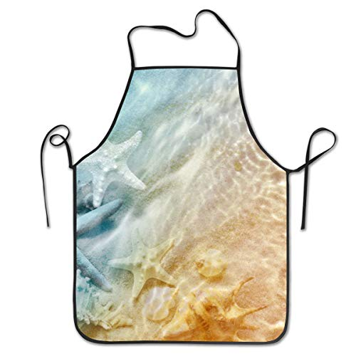 RZM YLY Starfish and Seashell Unisex Apron Basic Kitchen Bib Apron for Dishwashing Cleaning ()