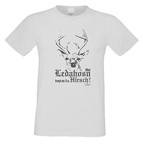 T-Shirt mit Motiv - Mei Ledahosn trogt no da Hirsch - Lustiges Outfit zu Oktoberfest + Wiesn + Volksfest in Grau 1