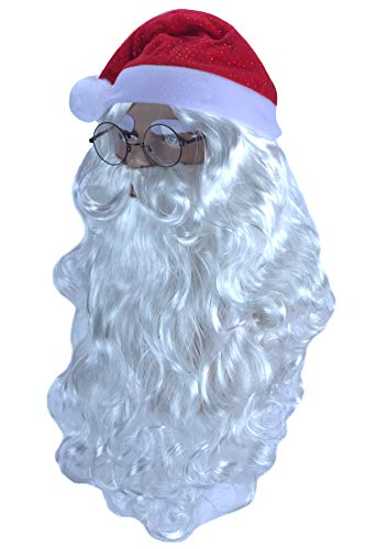 (Angelaicos Santa Claus Wig Beard Hat Glasses Set Long White Wig 4 pcs)