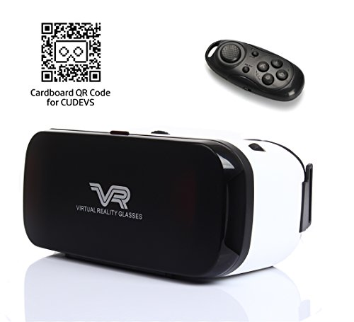 CUDEVS VR Headset, VR Goggles 3D VR Glasses Virtual Reality Headset with Controller VR Box for 3D Video Movies Games for 4-5.7 inches Smartphones