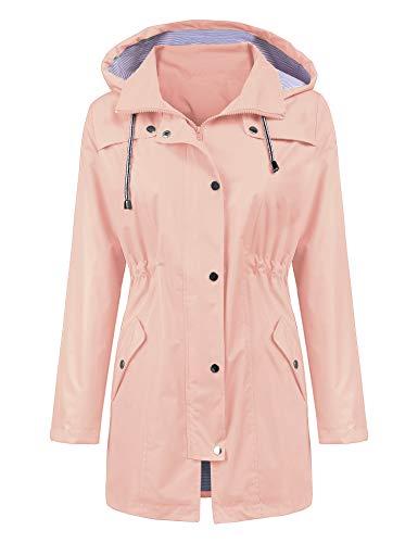 LOMON Raincoat Women Waterproof Long Hooded Trench Coats Lined Windbreaker Travel Jacket Pink - Pink Hooded Raincoat