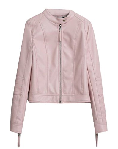 Shift Jacket Leather (Nanquan Women Stand Collar PU-Leather Biker Shift Moto Slim Jackets Pink US XS)