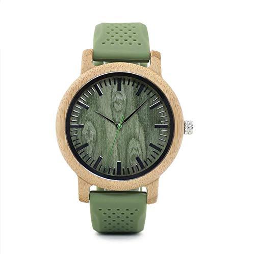 BOBO BIRD Women Quartz Watch Japan Movement Wooden Dial Silicone Watch Band with Wooden Watch Box