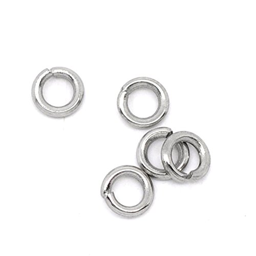 VALYRIA 500pcs Siver Tone Stainless Steel Open Jump Rings Connectors 0.8mm Fit Jewelry DIY (4x0.8mm)