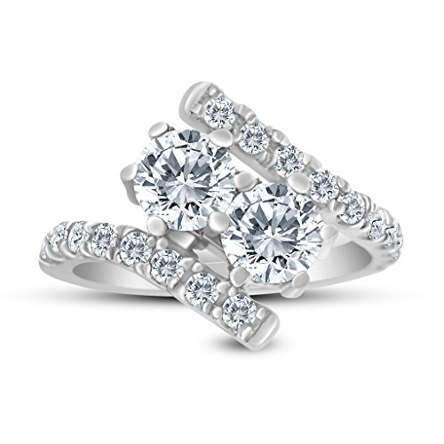 1.50ctw Diamond Two Stone Ring In 14K White Gold