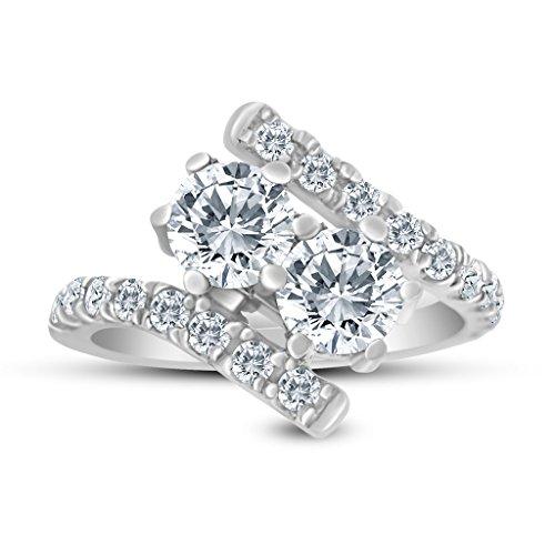 1.50ctw Diamond Two Stone Ring In 14K White Gold