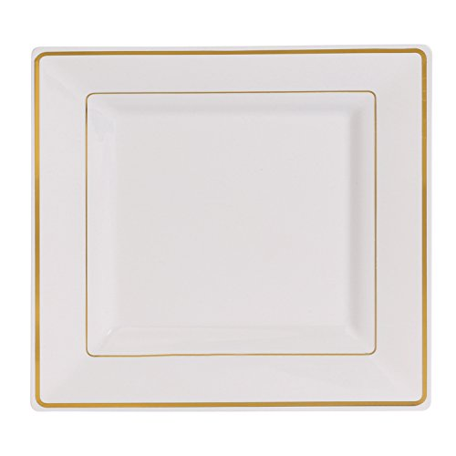 2 Square Plate (Kaya Collection - Disposable White with Gold Rim Plastic Square 9.5