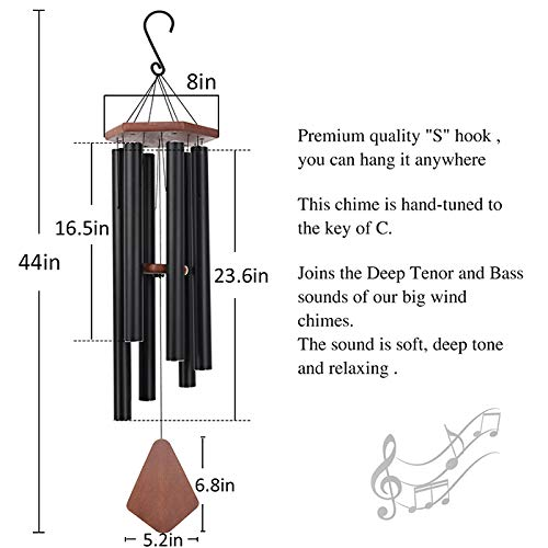 Wind Chimes Outdoor Large Deep Tone, 44 Inch Sympathy Wind Chime Amazing Grace Outdoor, Memorial Wind-Chime with 6 Tuned Tubes, Elegant Chime for Garden, Patio, Balcony and Home Decor, Matte Black by Astarin (Image #3)