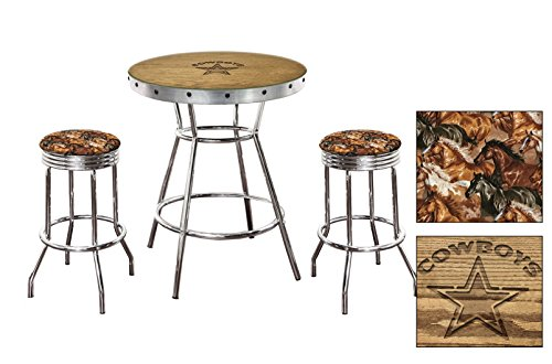 Stained Glass Cowboy - Oak Bar Table Set-Features a Hand-Carved Cowboys Logo with a Glass Top and 2 - 29