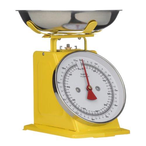 Premier Housewares Retro Kitchen Scale - 5kg - Red Yellow