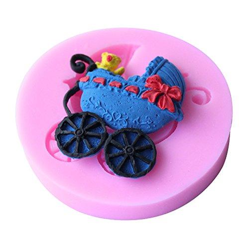 Mr.S Shop 3D Baby Pram silicone molds Handmade Soap Fondant Cake Decoration Sugar Craft Tools Baking Tools ,Small Size