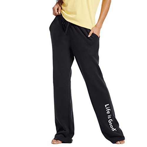 Life is Good Women's Fleece Lounge Evolved Classic Logo Pants, Night Black, X-Small (Life Good Lounge Is Pants)