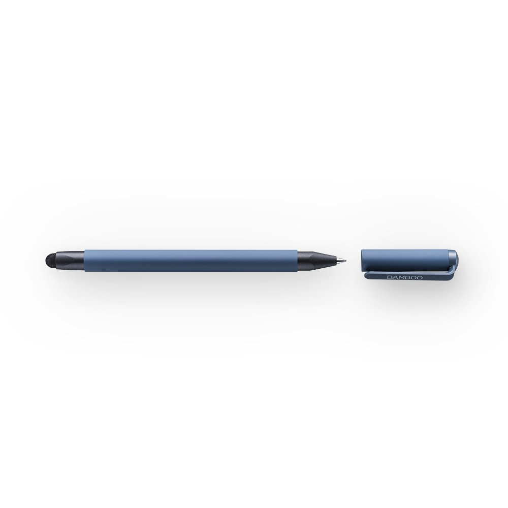Wacom Bamboo Duo Stylus & Ballpoint Pen (4th Generation) in Blue/2in1 Touch Pen with Carbon Fiber Tip for Touchscreen Input Devices with Capacitive Touch-Technology like iPhone or iPad