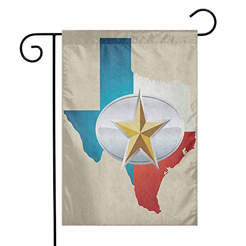 duommhome Texas Star Garden Flag Cowboy Belt Buckle Star Design with Texas Map Southwestern Parts of America Decorative Flags for Garden Yard Lawn W12 x L18 Multicolor