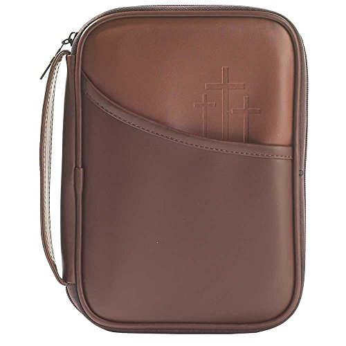 - Three Crosses Brown 8.5 x 10.5 inch Leather Like Vinyl Bible Cover Case with Handle Large