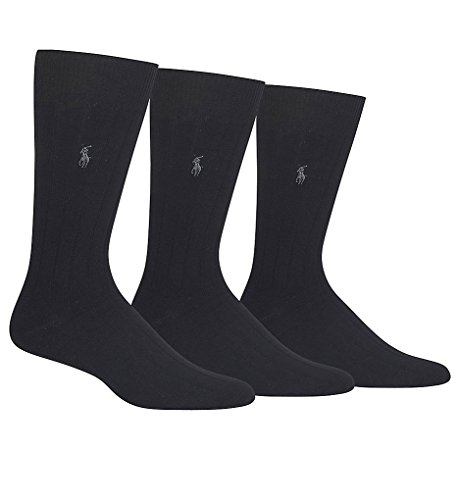 Polo Ralph Lauren Casual Dress Ribbed Socks 3-Pack (8092) O/S/Black