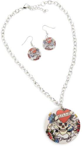 Ed Hardy Love Kills Slowly Base Metal Necklace and Earrings Set, 18