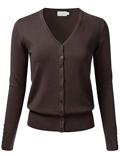 FLORIA Women's Button Down V-Neck Long Sleeve Soft Knit Cardigan Sweater Brown 2XL (3/4 V-neck Sleeve Cardigan)