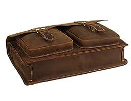 Polare Mens Genuine Leather 15.6\'\' Removeable Laptop Compartment Briefcase Messenger Bag Satchel
