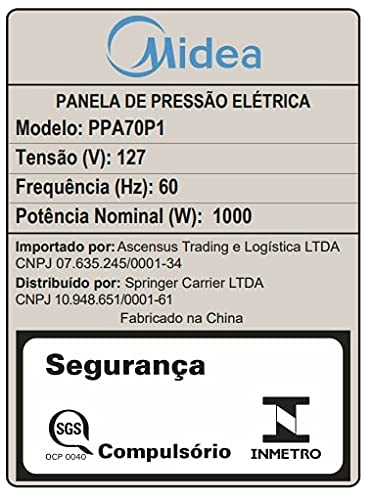 Panela De Pressão Elétrica 6L Midea Preta PPA70P1 (127V)