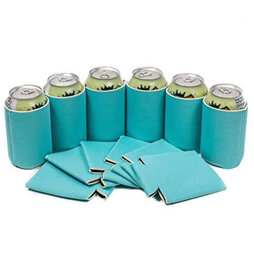 QualityPerfection 12 Light Blue Neoprene Blank Beer Can Cooler Sleeve Collapsible Coolie Economy Bulk Insulation with Stitches Perfect 4 Events,Custom DIY Projects Variety of Colors (12, Light Blue) -