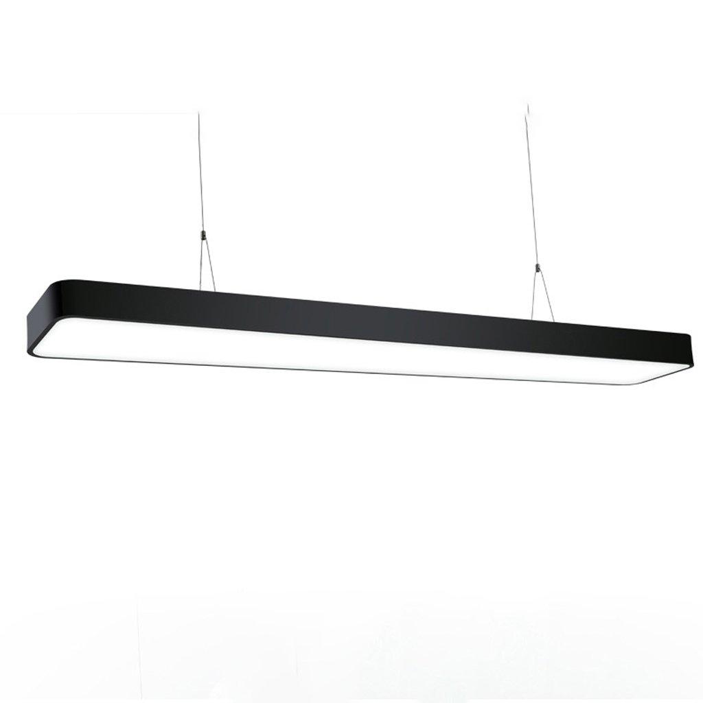 LED, Bar Chandler (White), Office Rectangular, Strip Fluorescent, Commercial Lighting Fish Line, Lamp (Aluminum), Black/Silver (Frame), Modern Simple Style (Size : L6020cm18W right angle)
