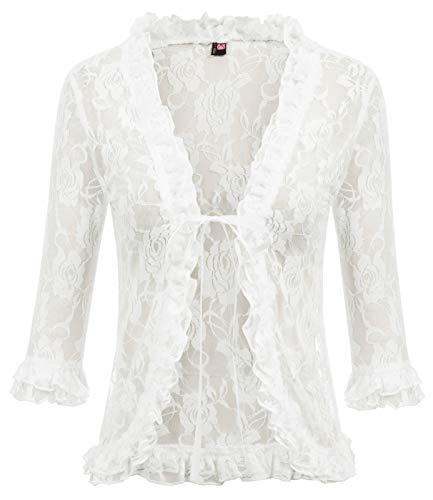 (Womens Lace Shrug 3/4 Sleeve Sheer Bolero Cardigan for Women Dresses(XL,Ivory))