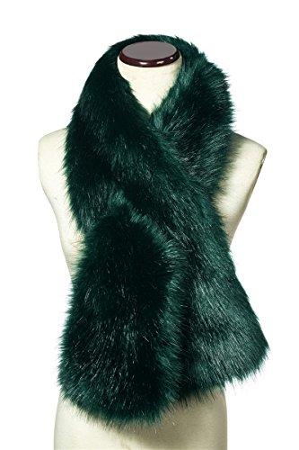 Saferin Women's Winter Faux Fake Fur Straight Scarf Wrap Collar Shawl Shrug(SFOX-Green)