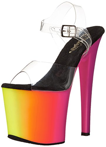 Pleaser RAINBOW-708UV Clr/Neon Multi Size UK 7 EU 40