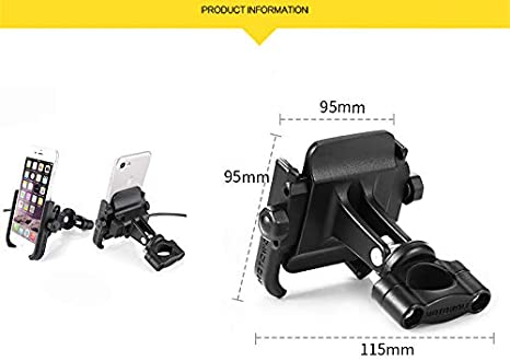 Motorrad Handyhalterung Aluminium Universal Fahrrad Handy Halterung f/ür 3,5-6,5 Zoll Smartphone Navigator GPS mit 360/° Drehbar Montage am Lenker schwarzer Lenker