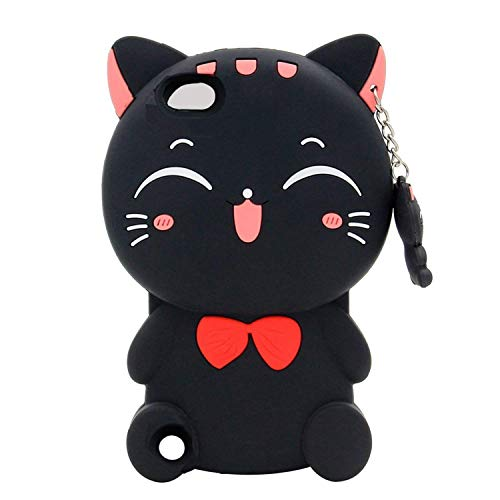 (Fortune Cat iPod Touch 5 Case,Fortune Cat iPod Touch 6 Case,Awin 3D Cute Cartoon Animal Soft Silicone Rubber Case for iPod Touch 5/Touch 6 (Fortune Cat Black))