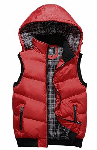 Soffiatore Caldo Staccabile Outwear Trapuntato Ttyllmao Uomini Cappuccio Del Rosso Degli Esterna Della Maglia qS6nzt