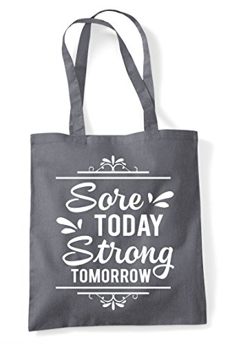 Tote Motivation Sore Grey Dark Shopper Today Tomorrow Strong Fitness Statement Bag gqgPY71w