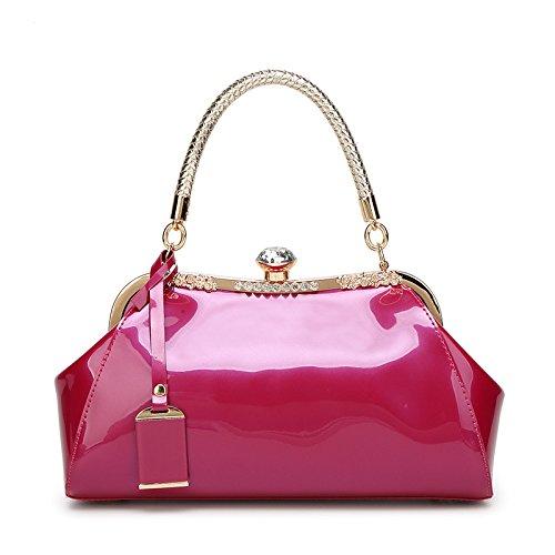 mefly de bolsos Moda Nueva superficie de piel de alta definición de boda bolso Satchel hombro atmósfera, negro rosa y rojo